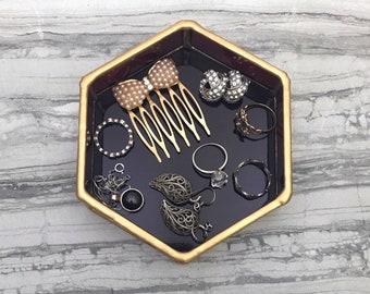 Ring Dish, Jewelry Dish, Ring Tray, Hexagon Ring Dish, Wine Ring Dish, Jewelry Tray, Hexagon, Stained Glass Dish, Vanity Tray, Burgundy