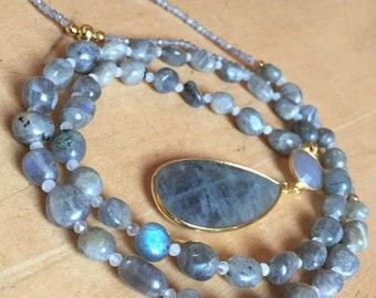 Necklace Labradorite Grey