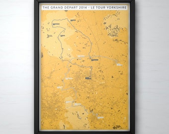 TdF Grand Départ Poster Print - Le Tour de France 2014 - Cycling Art Illustrated in the UK - Le Tour Yorkshire Cycling Poster Art
