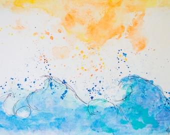 Waves Meet Sun Print