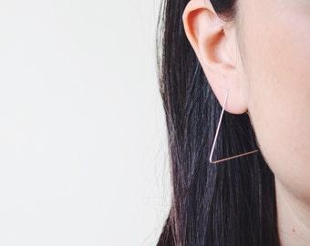 Silver minimal earrings, simple triangle earrings, gift ideas for women, triangle dainty earrings, silver christmas jewelry gift for women