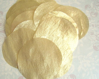 30 pcs 5 inches Hand cut Fabric Circles - Golden Yellow - Gold Metallic Tissue Lame Fabric