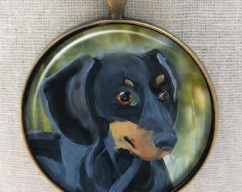 Dachshund Keychain ~ Doxie Artwork ~ May Birthday ~ Pet Keepsake ~ Doxie Lover Gift ~ Gifts for Him ~ Dog Keychain ~ Doxie Gift