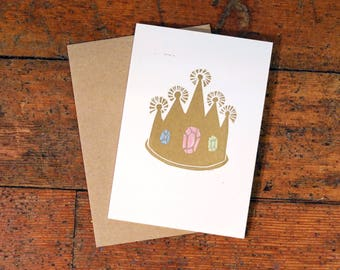 Crown Hand Painted Letterpress Linocut Card