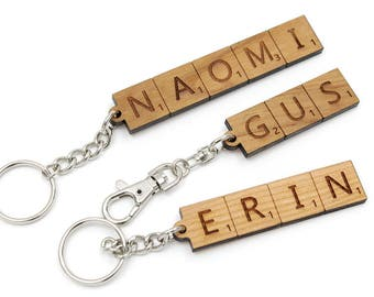 Personalized Scrabble-Style Alphabet Key Chain. Customize it! Cool Gifts Made in the USA by Timbergreen Woods. Keychain.