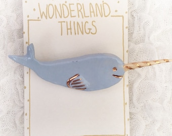 Whimsical Narwhal Brooch Pin with Gold Details