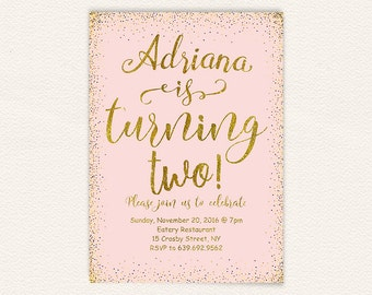 Pink gold birthday, 2nd birthday, birthday invitation, pink and gold, birthday party, printable invitation, birthday girl, girls birthday 12