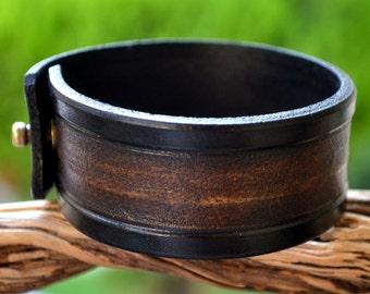 Cuff leather bracelet, mens leather bracelet, carved bracelet, mens jewelry, ,leather wristband leather art