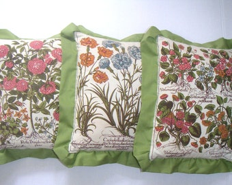 Vintage Decorative Pillows,Floral,Garden,Nature,Botanical,Home Decor,Cottage Chic