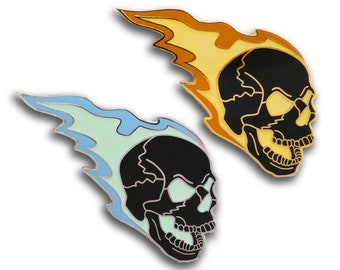 Flaming Skull Hard Enamel Pin Glow in the Dark GitD Halloween Biker Motorcycle Punk Rock Goth Laughing Glowing Rebel