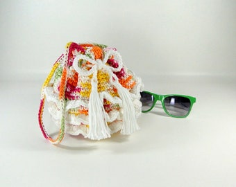Ruffled Purse - Girl's Ruffled Purse - Little Girl's Purse - Crocheted Purse - Make-up Bag - Cosmetic Bag - Tropical Punch & White