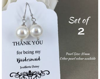 Set of 2 Bridesmaid Earrings Gift for Her Swarovski Earrings Mother of the Bride Gift Mother of Groom Gift Bridal Party Jewelry Wedding