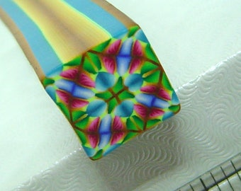 Raw Polymer Clay Kaleidoscope Square Cane Raw Unbaked Colorful