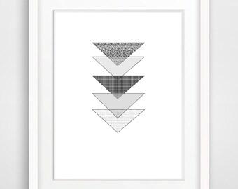 Printable Art Grey Wall Art Triangle Art Print Minimalist Print Scandinavian Poster Geometric Art Print Instant Download Home Decor Wall Art