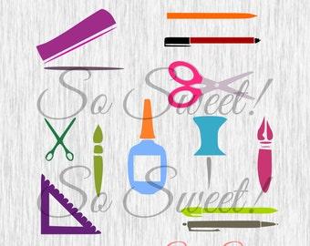 School Teacher SVG / DXF for Silhouette Teacher Back to School Office Supplies Glue Scisscors Stapler Pen Pencil Thumb Tack Push Pin svg dxf