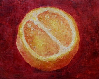 Original small art work, oil painting orange juse,  fruit, fetus, fine art, red, color, gift, present, post card. Картина маслом апельсин