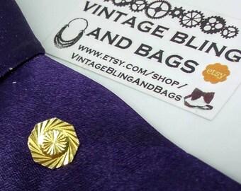 Vintage, gold tone tie tack, vintage tie tack, vintage tie pin, goldtone, tie tack,  bridegroom, wedding jewelry, hexagon tie tack, tie tack