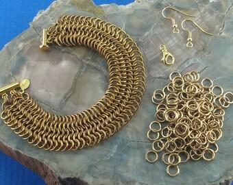 Kit for European 6-in-1 ChainMaille Bracelet in 18 Gauge Brass