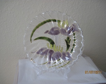 SALE - Fused Hand Painted  Glass Plate