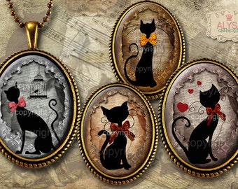 oval images jewelry digital collage sheet + FREE Gift Tags Instant Download  for pendants magnets bezel settings vintage CAT SILHOUETTE
