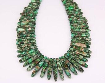 Dark Green Impression Sea Sediment Jasper Briolette Beads Bulk Pendant,Graduated Smooth Emperor Stone Drop Sticks Beads Necklace Jewelry