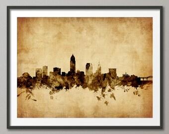 Cleveland Skyline, Cleveland Ohio Cityscape Art Print (1791)