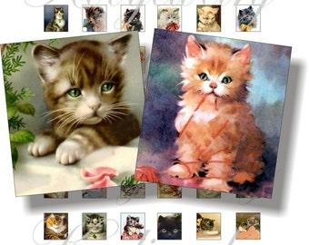 Vintage cats images for scrabble pendant, scrapbook and more Size 0.75x0.83 inch Digital Collage Sheet No.202