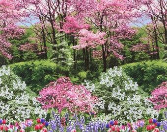 "Botanic Garden 24"" Fabric Panel Timeless Treasures Spring Nature Walk C2759"