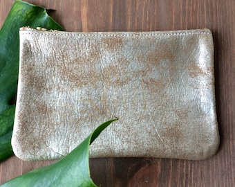Silver leather Clutch . Silver Leather Pouch . silver Leather cosmetic Bag . Silver leather makeup Bag . metallic Leather Cosmetic bag