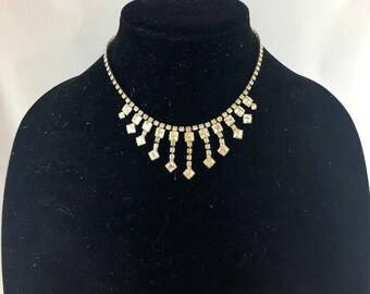 Vintage 50s Clear Crystal Rhinestone Necklace