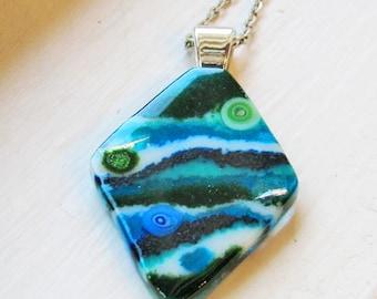 Turquoise Green Blue Glass Murrini Dichroic Diamond - Fused Glass Pendant / Necklace