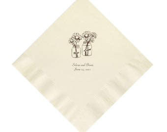 Rustic Country Wedding Napkins with Mason Jars and Daisies Personalized Set of 100 Napkins
