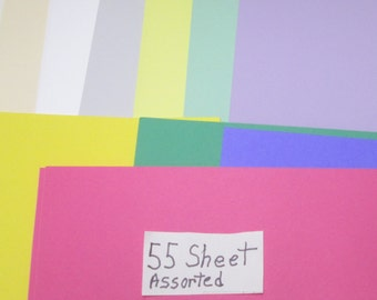 "Card Stock 55 Sheet Assorted Colors Bright Pastels Color Assortment  8 1/2"" x 11"" Scrapbook Die Cut Card Stock Grab Bag Craft Kit Mixed Lot"