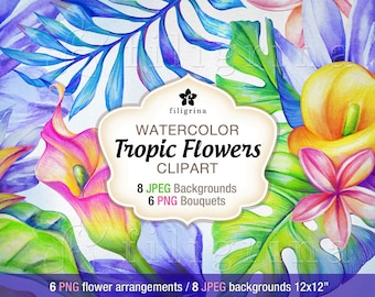 Tropic Flowers WATERCOLOR clipart designs. 6 PNG floral bouquets, 8 JPG backgrounds 12x12 digital scrapbook paper textures. Read about usage