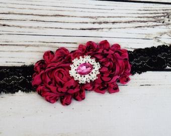 Handcrafted Hot Pink and Black Damask Headband - Fancy Vintage Headband - Damask Nursery - Adult Damask Headpiece - Shabby Rose Headband