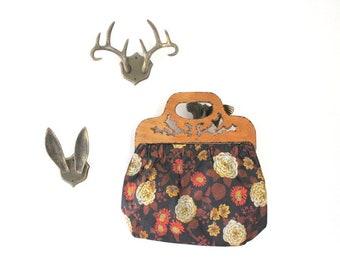 Vintage Floral Purse, Floral Purse, Wood Handle Purse, Vintage Floral Bag, Vintage Floral Clutch, Vinyl & Wood Purse, Vintage Vinyl Purse