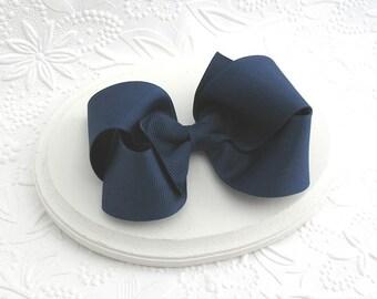 Navy Blue School Uniform Hair Bow ~ Light Navy Blue Boutique Hair Bow, Toddler Bows, Girls Hair Bows