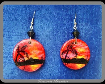 Earrings SUNSET- hand painted wood