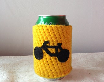 Bicycle Crochet Beer Cozy in Yellow, Reusable Coffee Cozy, Coffee Cup Cozy, Bottle Cozy, Coffee Sleeve, Can Cozy, Reusable Cup Cozy