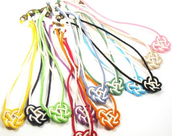Heart Knot Necklace, I love You Cotton Heart Knotted Pendant Necklace, Celtic Heart in 12 Colors