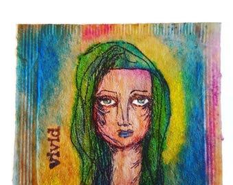 Art Journal Page, Journal Insert,  Watercolor Page, Teabag Art, Miniature Art, Mixed Media Art, Junk Journal Page, Contemporary Woman