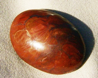 Burrundo Fire Ball Cabochon - Dazzling,Oval Red Agate with Threads of Hematite, Handcrafted by JewelryArtistry - GC502