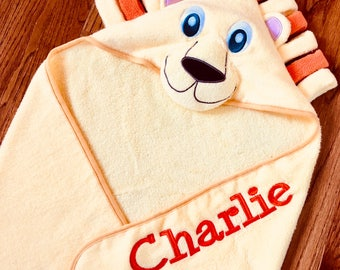 Lion Baby/Toddler Hooded Towel~Personalized Baby/Toddler Hooded Towel~Embroidered Baby/Toddler Hooded Towel