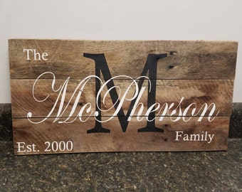 Last Name Wood Sign,Last Name Sign,  Personalized Wood Sign, Wedding Gift Sign, Established Date Family Sign, Anniversary Gift, Rustic
