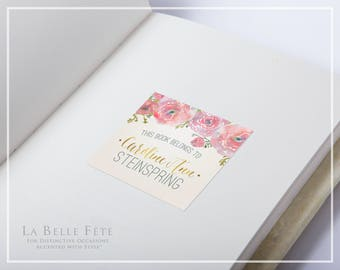 "WATERCOLOR FLORAL ""This Book Belongs To"" Adhesive Sticker Book Plate Labels in blush and gold with DIY Printable Option"