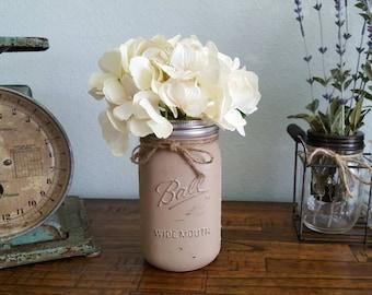 Painted Wide Mouth Quart Mason Jar | Made to Order | Flower Vases | Rustic Wedding | Farmhouse Decor | Shabby Chic | Mason Jar Organizer