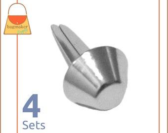 14 mm Purse Feet, Handbag Bottom Studs, Nickel Finish, 4 Feet, Purse Handbag Bag Making Hardware Supplies, PFT-AA001