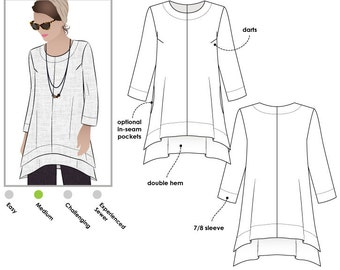 Daisy Designer Tunic - Sizes 22, 24, 26 - Women's Tunic Top PDF Sewing Pattern by Style Arc - Sewing Project - Digital Pattern