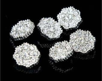 6 Pcs Crystal Glass Rhinestone Silver Shank Button Flower Shaped Buttons Sewing Craft