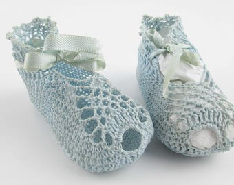 Vintage Soft Blue Crocheted Baby Booties - Crocheted Shoes With Satin Ribbon Ties - Collector - Wearable - Open Toe Baby Booties